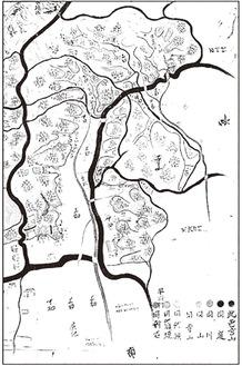 宝暦12年の王禅寺村絵図。中央右に寺山と記した辺りが王禅寺領