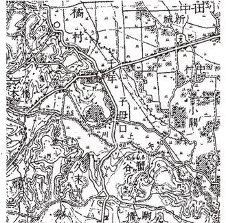 渋口郷関連図「千年」の左下鳥居の印が橘樹神社、「子母口」の左側が郷の中心台地