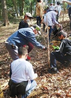 里山ボランティアの指導で植樹する児童=同団体提供