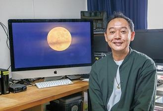 河戸さんと麻生区内で撮影された月
