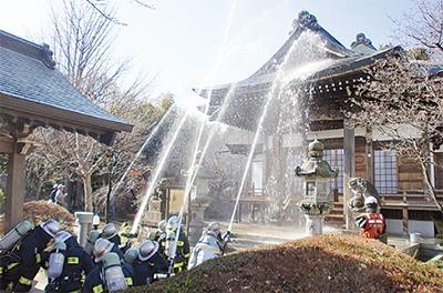 法雲寺で消防訓練