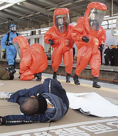 化学テロ想定し訓練