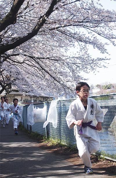 満開の桜の下で鍛錬