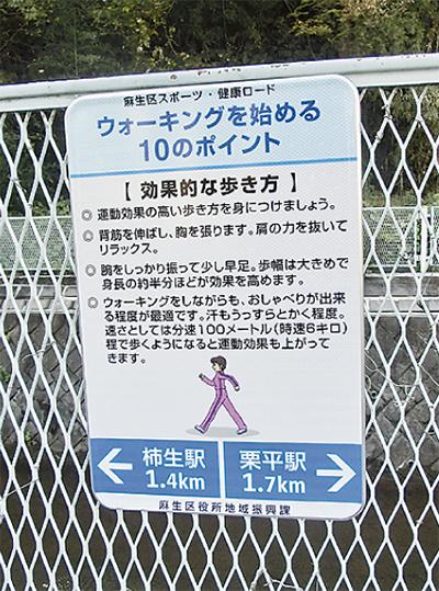 片平川沿いに案内板