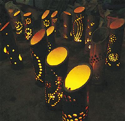 地元材で竹行燈(あんどん)作り