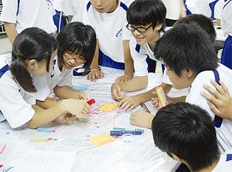 付箋などを使い危険を確認する生徒
