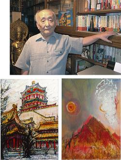 今井克樹さん(右)と作品(下)