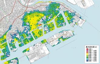 慶長型地震の浸水予測図