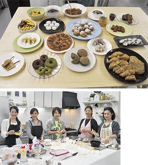 (上)大師ゆかりの食材を使った試作品(下)チーム・平成大師グルメのメンバー