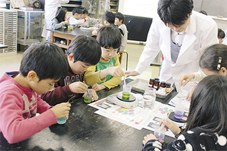 真剣に実験に取り組む児童