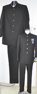 世界最高身長にギネス認定された、トルコのバスケ選手の身長に合わせて制作された制服。手前の制服は175cmサイズ