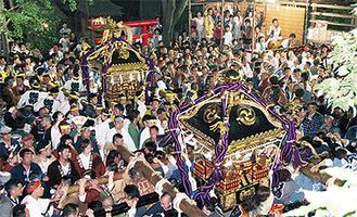 神社境内に入る2基の大神輿(稲毛神社)