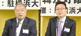 挨拶に立つ朱総領事と大島議連会長(右から)