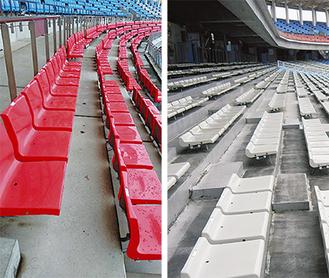2階の背もたれ付の座席(左)を1階の座席(右)と交換する