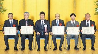 左から、井武敏氏、鈴木克明氏、福田紀彦川崎市長、高橋信美氏、秦義光氏、宮永典隆氏