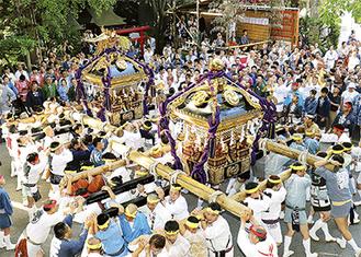 神輿が祭りを盛り上げる