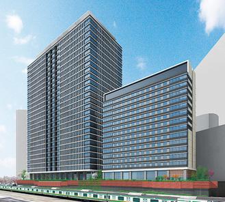 オフィス高層棟とホテル外観イメージ(JR東日本提供)