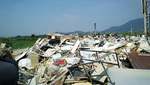 西日本豪雨の被災地・岡山県真備町の災害ごみ