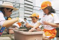 園児と苗植え10周年
