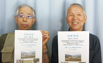 報告書を手にする宮原さん(右)と編集をした飯塚敞二朗さん