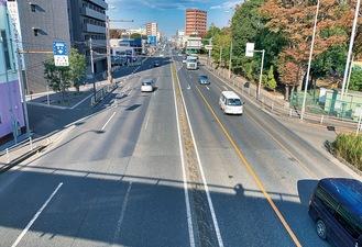 当該の道路(都町交差点から遠藤町交差点に向け撮影)