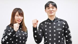 ガールズGPに臨む佐藤選手(左)と師匠の對島選手