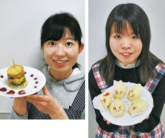 作品を手にする石井さん(右)と吉田さん