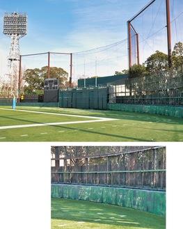 川崎球場時代から残る外野フェンスと照明塔(上)。フェンスには当時の企業名がうっすら残る