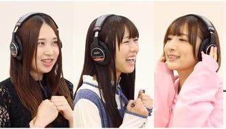 レコーディングに取り組むメンバー(宝生さん、宮内さん、服部さん、左から)