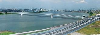 連絡道路橋りょう完成のイメージ(羽田空港側から多摩川上流)