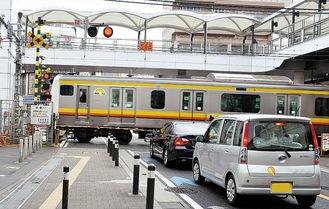 鹿島田駅前の踏切
