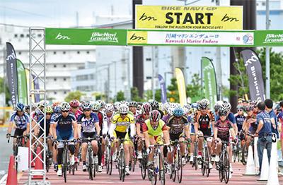 東扇島で自転車レース