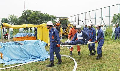 災害備え水防訓練