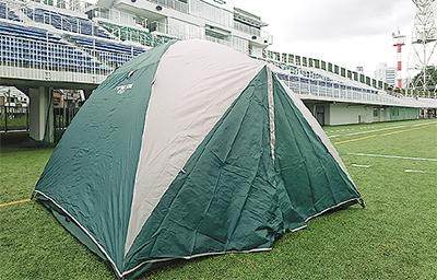富士通スタにテントで宿泊