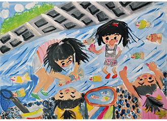 ポスターに選ばれた上杉栞さん(大沢小5年)の作品