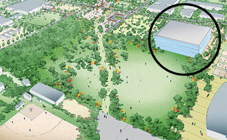 [淵野辺公園側のYゾーン]右上の建物(丸の箇所)に、複合施設で市民が利用できる武道館の新設が予定されている