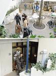 メイプルビルでのロケ風景(上)宮本さんは弟、奥さんと一緒にエキストラ出演した(下)
