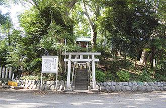 呼ばわり山は新田稲荷神社の境内にあり、鳥居をくぐり階段を上るとほこらがある