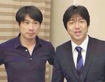 代表でもともにプレーした名波浩氏(右)と、SC相模原の望月重良代表