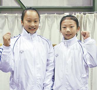 全国大会に向けて意気込みを見せる坂本美樹さん(左)と上田花恋さん