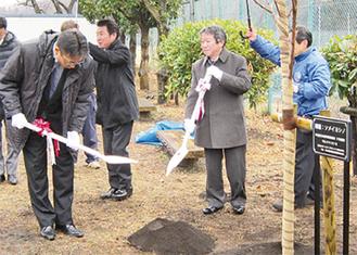 桜を植樹する出席者ら