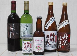 ▲地酒「丹沢ほまれ」など、多数の商品を用意する