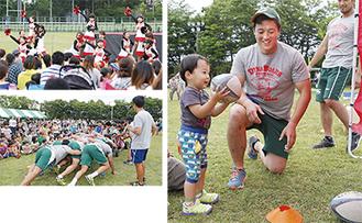 子どもたちによるチアパフォーマンス(左上)選手たちがスクラムを披露(左下)=4日、同グラウンド