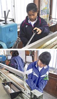 職場体験を行った愛川中原中学校の齊藤さん(上)と岡本さん=11月11日、新井畳店