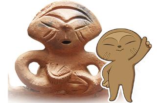 大日野原遺跡の土偶から生まれた「おびのっち」(右)と土偶