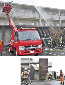 建物3階めがけ放水する消防隊員と要救助者を救出する高所救助車(上)屋上からロープを張り、車椅子の要救助者を助ける消防隊員=2日、特別養護老人ホーム・縁JOY