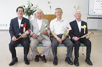最優秀賞を受賞した吉兼さん(中央左)と吉田さん(同右)