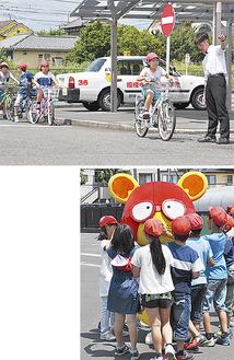一時停止の徹底などを学んだ児童(上)人気をさらったちゅ〜太=19日、相模中央自動車学校