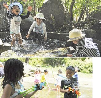 30℃を超える真夏日の中、水遊びを楽しむ子どもたち=22日、相模川自然の村公園
