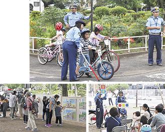 (上から時計回りに)子どもたちに指導する署員/安全な乗り方に関する講話/写真パネルの展示=16日、鹿沼児童交通公園